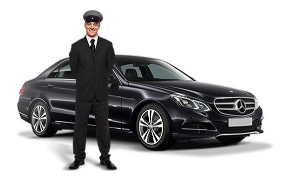 Driver standing in front of a balck car
